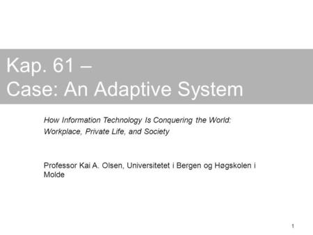 1 Kap. 61 – Case: An Adaptive System How Information Technology Is Conquering the World: Workplace, Private Life, and Society Professor Kai A. Olsen, Universitetet.