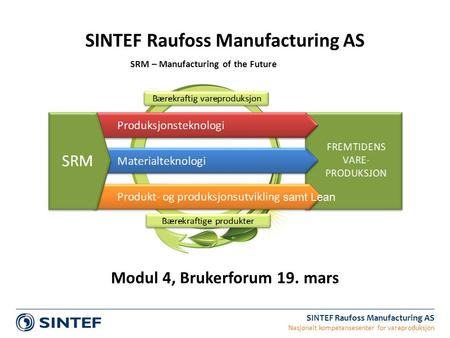 SINTEF Raufoss Manufacturing AS Nasjonalt kompetansesenter for vareproduksjon SINTEF Raufoss Manufacturing AS SRM – Manufacturing of the Future Modul 4,
