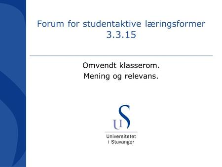 Forum for studentaktive læringsformer