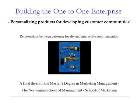 Building the One to One Enterprise - Personalizing products for developing customer communities' Relationships between customer loyalty and interactive.