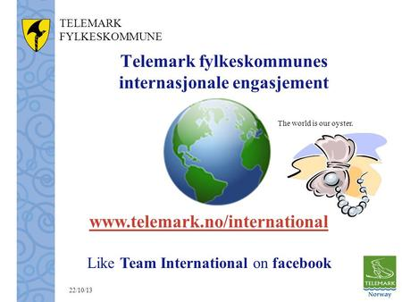 TELEMARK FYLKESKOMMUNE Telemark fylkeskommunes internasjonale engasjement www.telemark.no/international Like Team International on facebook The world is.