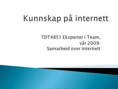 TDT4851 Eksperter i Team, vår 2009: Samarbeid over internett.