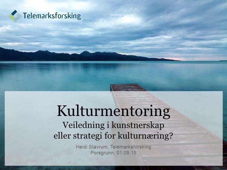 Bakgrunn En studie av Porsgrunn kommunes forsøksprosjekt med mentoringprogram rettet mot kunstnere og kulturbedrifter: –Haugsevje og Stavrum 2014: Erfaring møter kreativitet (rapport, Telemarksforsking).