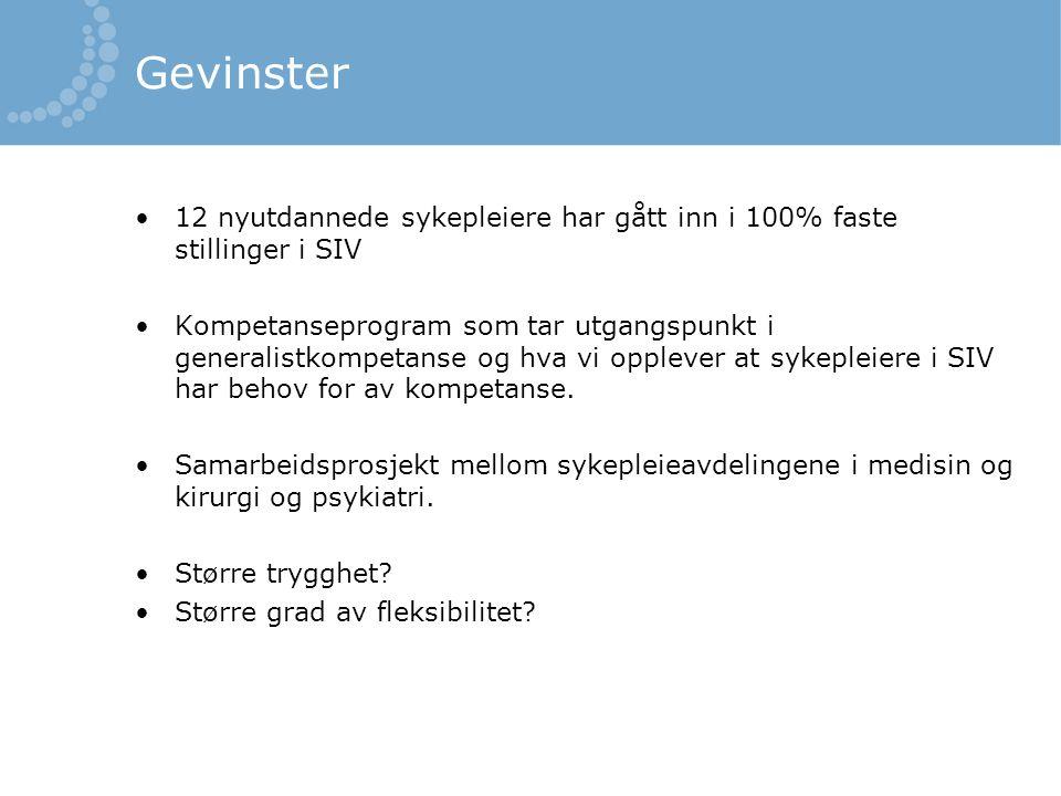 95% stilling på en seksjon og ikke kombistillinger seksjon/ bemanningspool Traineesykepleiere i Helse Bergen opplever usikkerhet mht å være på flere seksjoner samtidig Fra Prosjektrapport: Fast, full stilling for nyutdannede sykepleiere, Helse Bergen 2014.