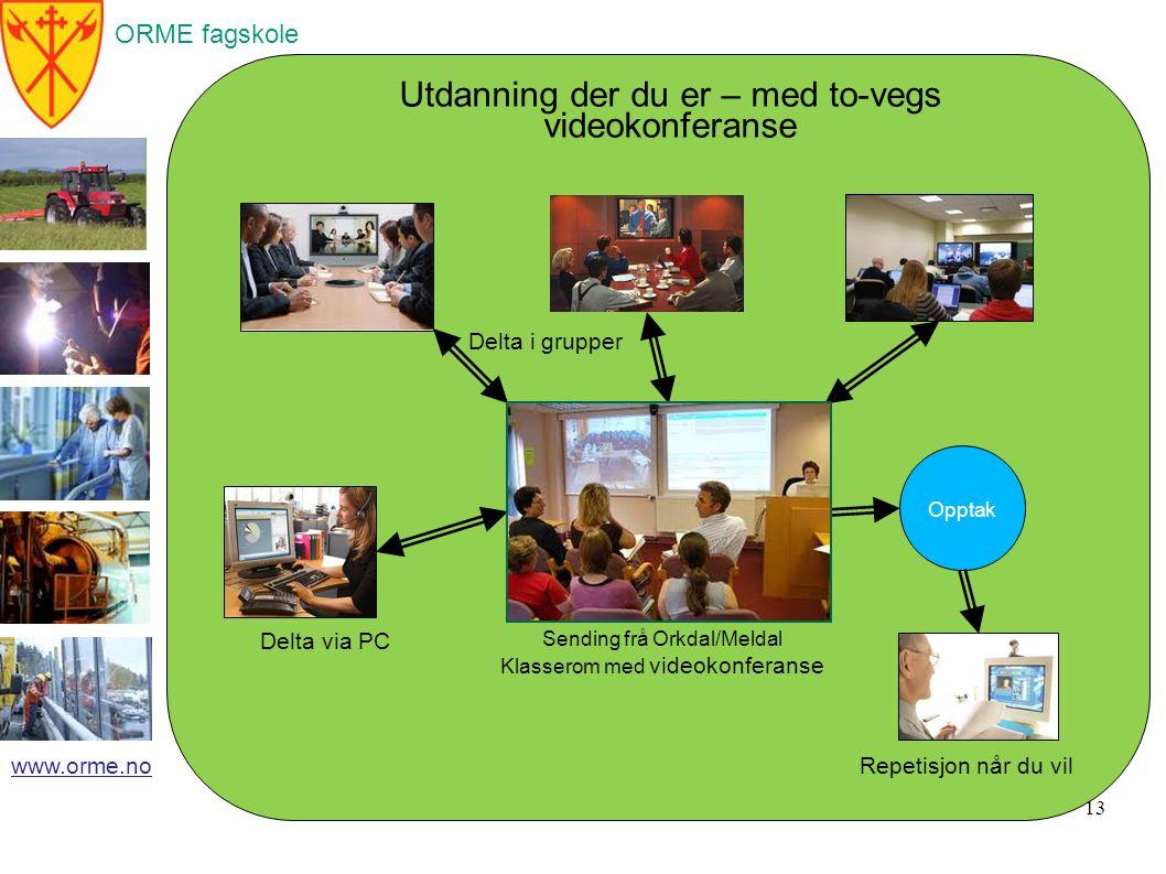 ORME fagskole www.orme.no 14 Eksempel på opptak av forelesning Ekstern forelesar i Vatn og Avløpsteknikk