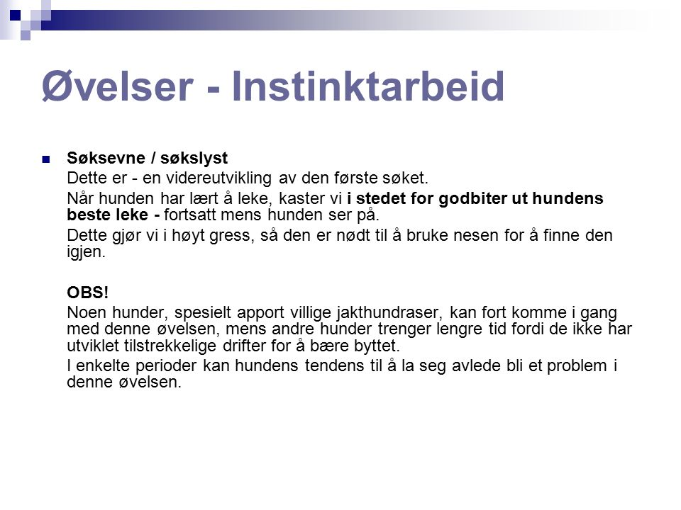 Øvelser - Instinktarbeid Sporsøk: Vi begynner allerede med de helt unge valpene.