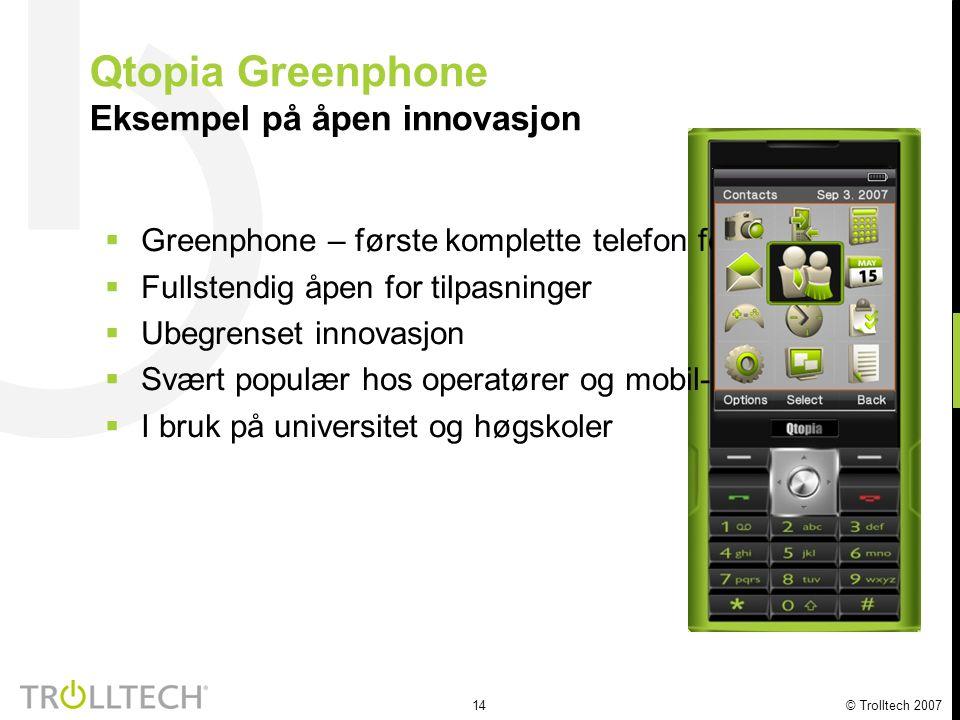 15 © Trolltech 2007 Qtopia på Neo 1973 Nok et eksempel på åpen innovasjon  Neo – nok et eksempel på åpen innovasjon  Fullstendig åpen for tilpasninger  Ubegrenset innovasjon  Populær hos frie utviklere  Trolltech jobber nært med utviklersamfunnet og produsenten FIC