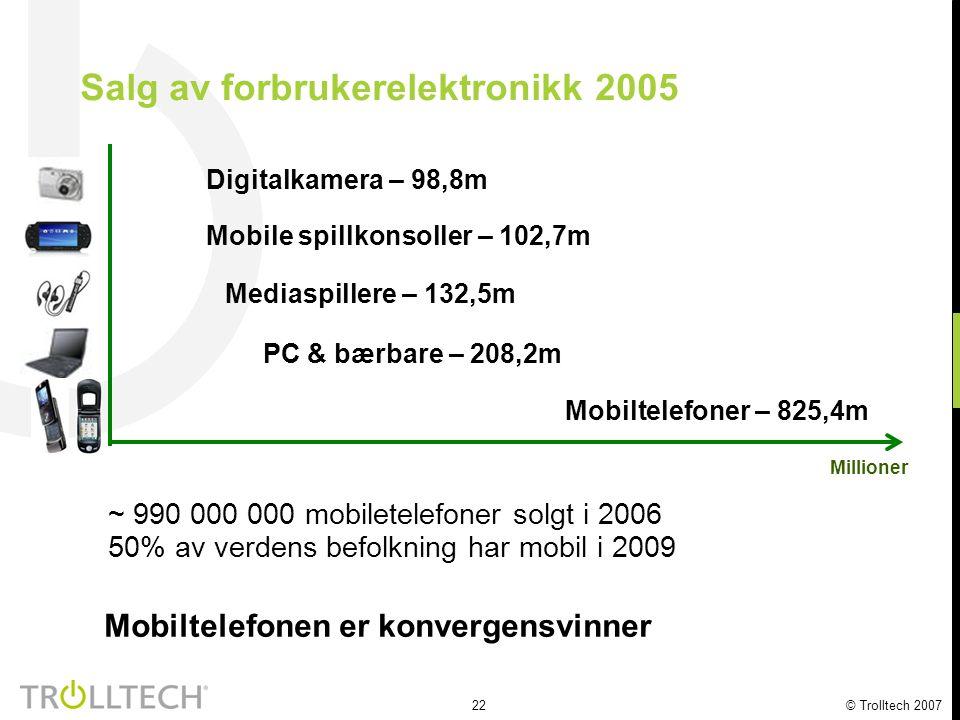 23 © Trolltech 2007 Markedsandeler smarttelefoner 2004 RIM 1% Palm OS 6% Microsoft 7% Linux 5% Symbian 81% 2005 Symbian 68% RIM 2% Palm OS 4% Microsoft 4% Linux 22% 16.7 millioner solgte enheter 49.0 millioner solgte enheter Qtopia på 1/3 av Linux-telefonene