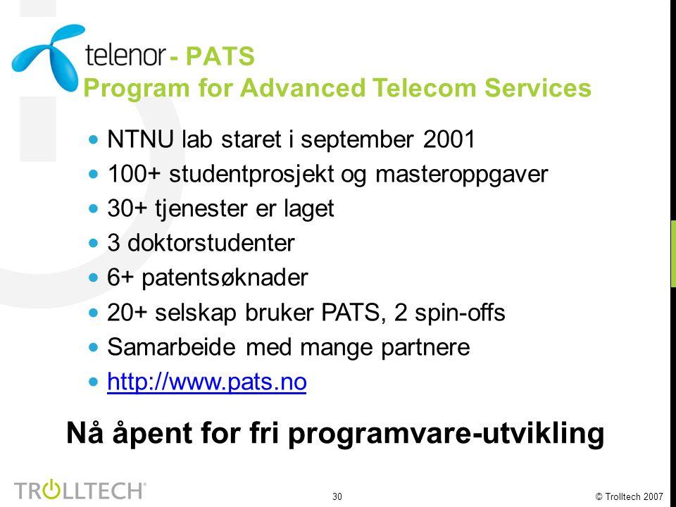 31 © Trolltech 2007 Spillprogramming på Greenphones Samarbeid med Telenor R&I, studenter og forskere