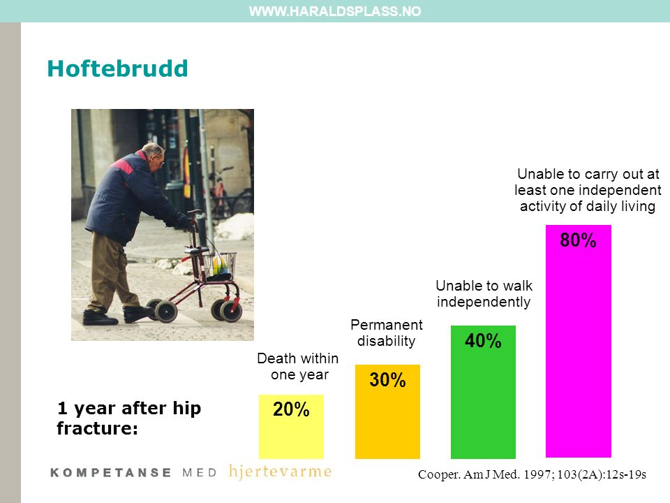 Funn fra forstudie HDS: –Pasientregistrering i 3 måneder: Alle pasienter over 70 år lagt inn på kirurgisk/ortopedisk post for øyeblikkelig hjelp (n=58) Gjennomsnittsalder 82,2 år (70-97 år) Ca halvparten hoftebrudd Resten underarmsbrudd, kompresjonsbrudd i rygg etc Funn fra forstudie HDS: –Pasientregistrering i 3 måneder: Alle pasienter over 70 år lagt inn på kirurgisk/ortopedisk post for øyeblikkelig hjelp (n=58) Gjennomsnittsalder 82,2 år (70-97 år) Ca halvparten hoftebrudd Resten underarmsbrudd, kompresjonsbrudd i rygg etc WWW.HARALDSPLASS.NO Hoftebrudd