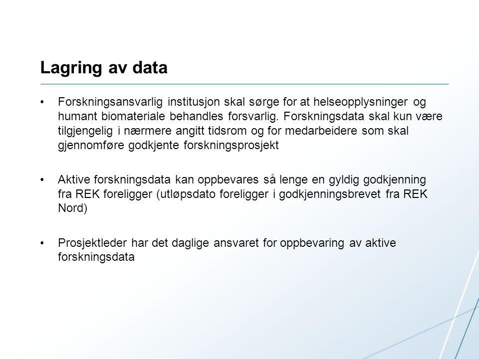 Databaser for lagring av forskningsdata EUTRO Ny database: TSD – Tjeneste for sensitive data (UiO) Mer brukervennlig (mulig for videolagring) Årlig kostnad ved bruk IT avdelingen ønsker nye prosjekter for testing Kontaktperson Roy DragsethRoy Dragseth For mer informasjon om lagring av data gå til: https://uit.no/om/enhet/artikkel?p_dimension_id=88127&p_document_id=20 5855