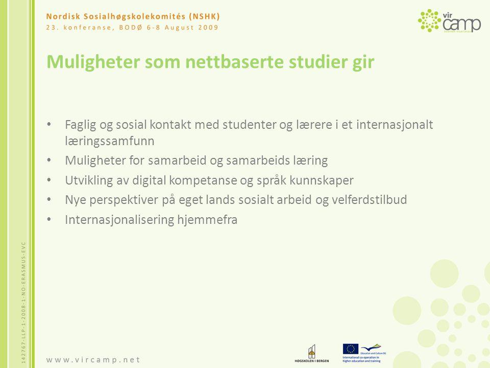 Utfordringer ved nettbaserte studier Tekniske Språklige Faglige Behov for lærere med e-pedagogisk kompetanse Fordrer god oppfølging, veiledning og støtte underveis fra lærerne Skape et godt sosialt og faglig miljø Legge til rette for interaktivitet og samarbeid gjennom oppgaveløsning og diskusjoner