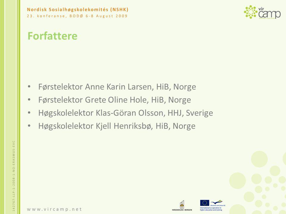 Disposisjon Bakgrunn for prosjektet Målsetting Hvorfor en internasjonal spesialisering i SA.