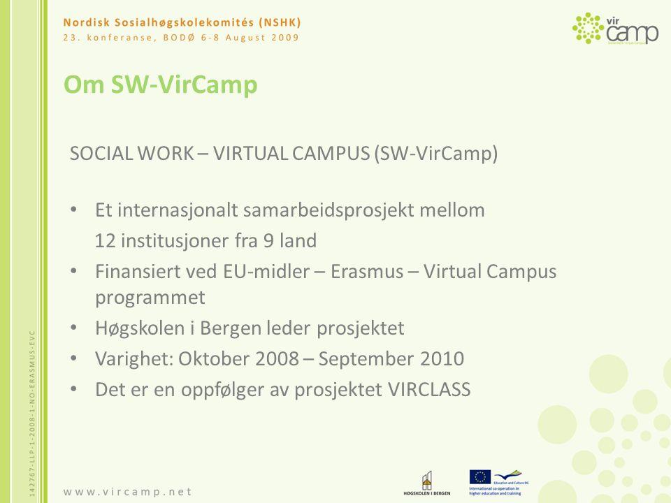 Bakgrunn for prosjektet The Virtual Classroom for social work in Europe - The VIRCLASS project Startet i 2004 E-lærings kurs i komparativt sosialt arbeid - 15 studiepoeng 5.