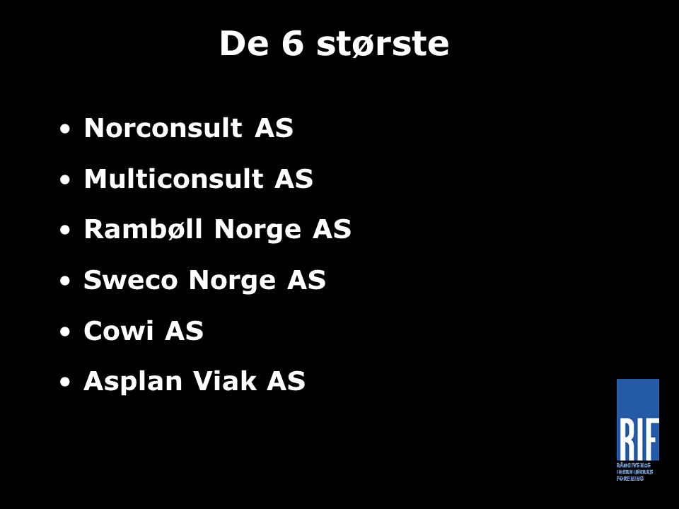 De 6 største Norconsult AS Multiconsult AS Rambøll Norge AS Sweco Norge AS Cowi AS Asplan Viak AS