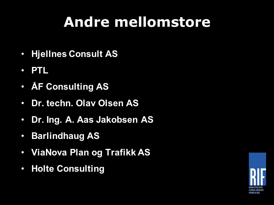 Andre mellomstore Hjellnes Consult AS PTL ÅF Consulting AS Dr.