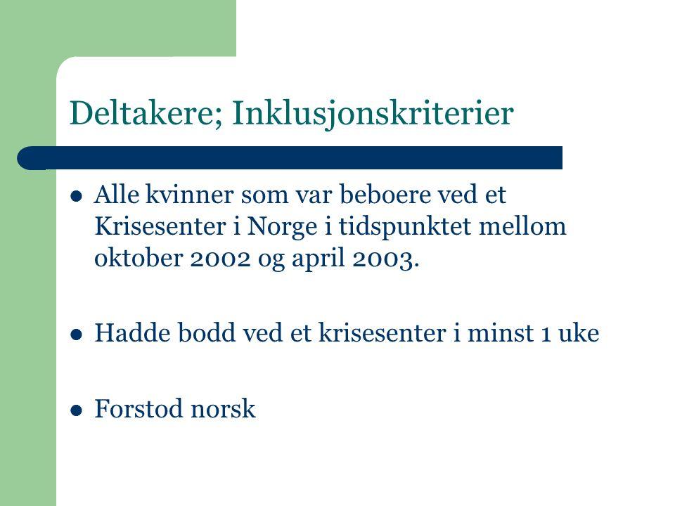 Noen resultat fra den første undersøkelsen 212 spørreskjema ble delt ut til kvinner på krisesentrene 87 kvinner besvarte spørreskjema og sendte det i retur til forsker; Svarprosent: 41% Gjennomsnittalder 38,5 (18-70) Gjennomsnittlig botid p å krisesenteret n å r de svarte var 2 uker 84 % var norske statsborgere 90% av deltakerne hadde barn 40 % var i betalt arbeid