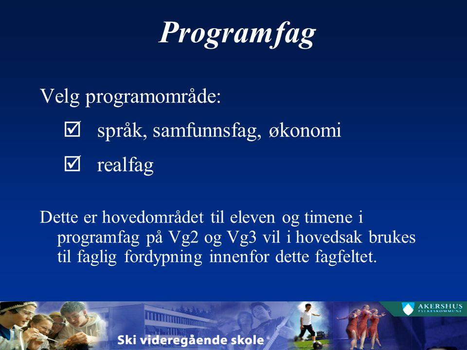 Programfag Velg tre programfag (på Vg2 og Vg3): Velg to programfag fra eget programområde Velg ett programfag fra eget programområde eller et annet programområde To programfag fra eget programområde på Vg2 må videreføres på Vg3