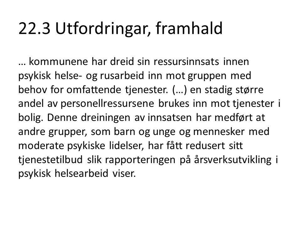 22.3 Utfordringar, framhald Milde til moderate angst- og depresjonslidelser ligger bak en stor andel av sykefraværet i Norge.