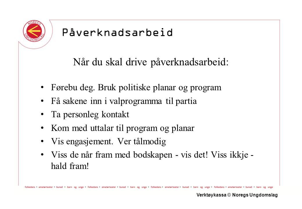 Verktøykassa © Noregs Ungdomslag Påverknadsarbeid