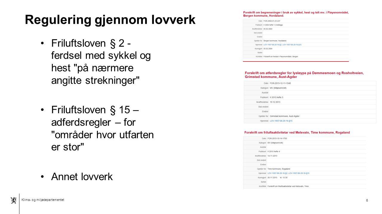 Klima- og miljødepartementet Norsk mal: Tekst med kulepunkter - 2 vertikale bilder Bør man regulere.