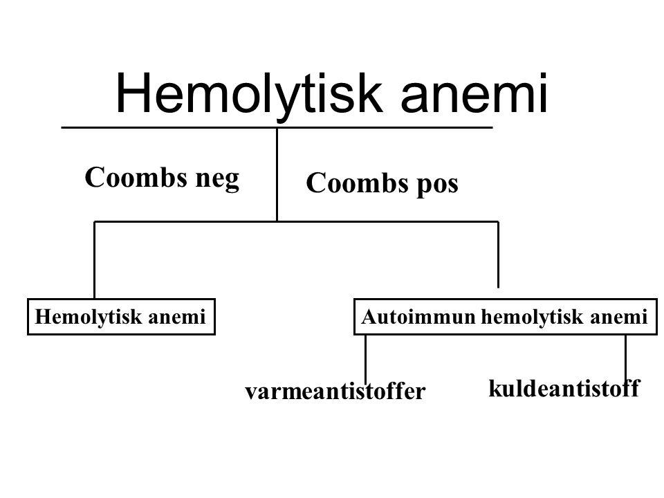 Typiske funn ved hemolyse LD haptoglobin retikulocytter benmarg Økt nedsatt økt økt erytropoiese