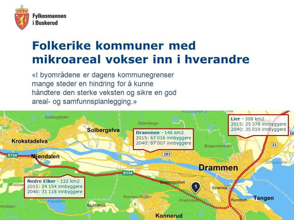 Forutsetninger Tar utgangspunkt i dagens regioner Ser kun på Buskerudkommunene i regionene Tar utgangspunkt i KS sine beregninger og vurderinger Ser ikke på hele bildet.