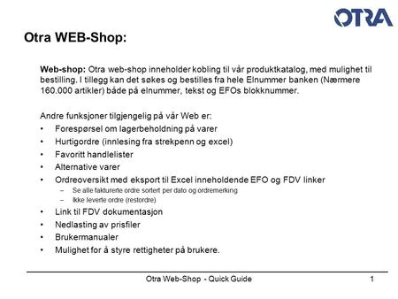 Otra Web-Shop - Quick Guide