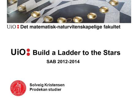 UiOa Build a Ladder to the Stars Solveig Kristensen Prodekan studier SAB 2012-2014.