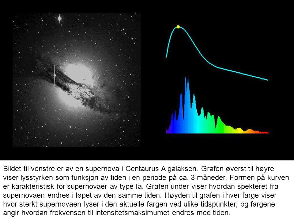 Til venstre vises observerte lyskurver for supernovaer av type Ia.