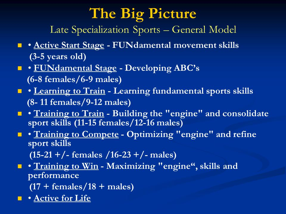 The Big Picture Late Specialization Sports – General Model   • Active Start Stage - FUNdamental movement skills (3-5 years old)   • FUNdamental Stage - Developing ABC's (6-8 females/6-9 males)   • Learning to Train - Learning fundamental sports skills (8- 11 females/9-12 males)   • Training to Train - Building the engine and consolidate sport skills (11-15 females/12-16 males)   • Training to Compete - Optimizing engine and refine sport skills (15-21 +/- females /16-23 +/- males)   • Training to Win - Maximizing engine , skills and performance (17 + females/18 + males)   • Active for Life