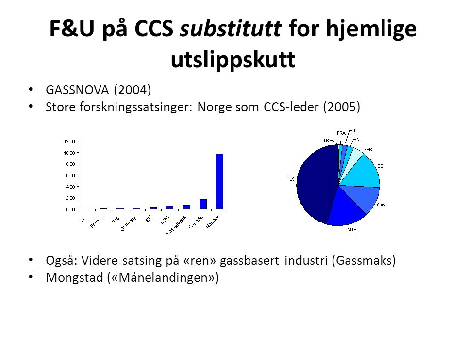 Kommer i kombinasjon med kvotekjøp og tiltak utenlands • Fra 2008 – Norge del av det europeiske kvotesystemet (ETS) • Men hittil få norske bedrifter og lave kvotepriser • Og en snodig regnskogssatsing • Klimaforlikene 2008, 2012, krever store kutt i 2020 (20% i forhold til forventninger), 2/3 innenlands • Men beskjedne virkemidler (litt til jernbane, kollektivtrafikk, kutt i oljefyring)