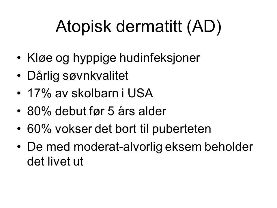•Genetisk faktor •S aureus kan indusere AD via superantigener •25% er ikke sensitisert og har normal total IgE