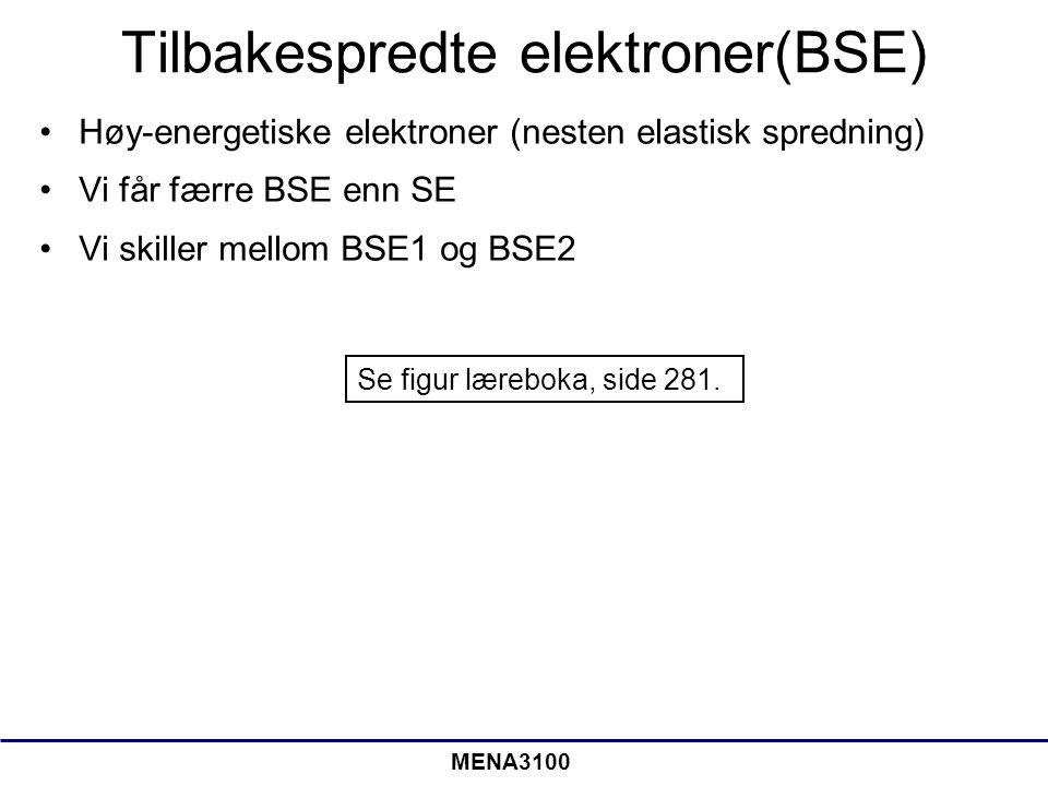 MENA3100 BSE2 Prøveoverflate Innkommende elektroner BSE2 • De fleste tilbakespredte elektroner er av typen BSE2