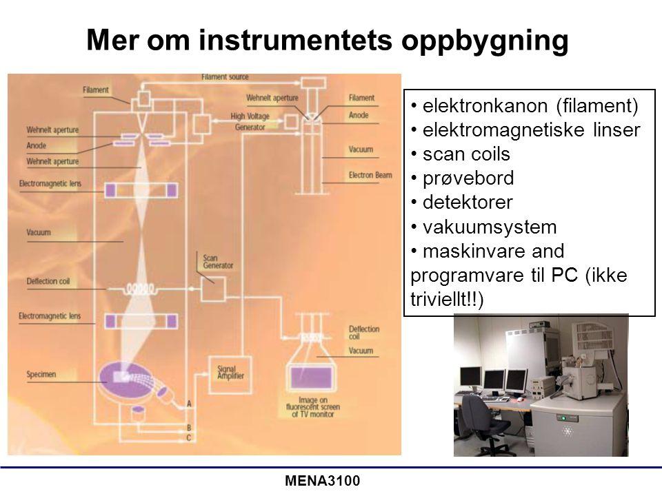 MENA3100 Elektronkanonen •Vi ønsker så mange elektroner per tidsenhet og så liten elektronstråle som mulig •Tradisjonelle kanoner: termionisk elektronkanon (elektroner emitteres ved å varme opp et fast stoff) –W-tråd, LaB 6 -krystall •Moderne: feltemisjonskanoner (FEG) (kald kanon, et sterkt elektrisk felt trekker ut elektroner) –En-krystall av W, som etses til en tynn spiss