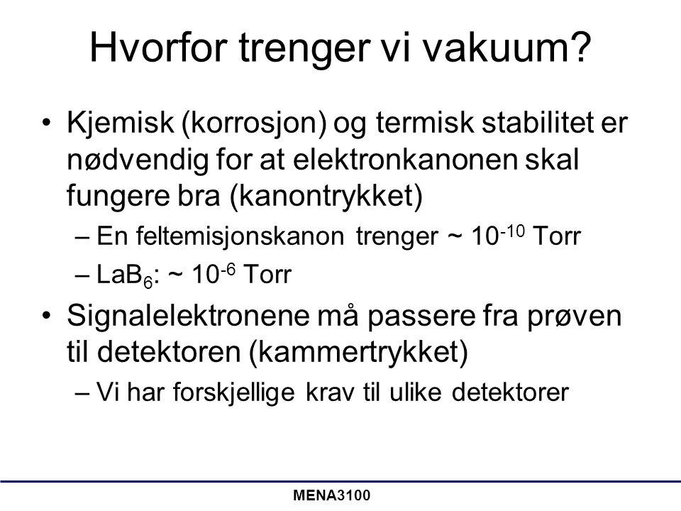 MENA3100 Environmental SEM: ESEM •Tradisjonelt er kammertrykket ~ 10 -6 Torr •ESEM: 0,08 – 30 Torr •Forskjellig gasser kan brukes •Vi trenger en annen SE detektor