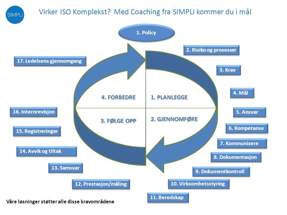 ISO coaching – veien fram til sertifisering Fast pris: 149.000,- Anbefalt prosjekttid: 6 – 12 mnd.