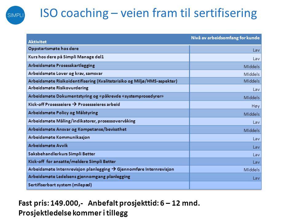 Kompetanse, System og opplæring Kompetanse •Prosjektstyring •Prosesskartlegging •Lover og krav •Risikokartlegging •Internrevisjon •Statusanalyse •ISO-rådgivning Opplæring/støtte •ISO kurs •Internrevisjon kurs •Brukerkurs •E-læring •Hjelpefiler •Support Systemer •Avvikshåndtering •Prosesskart •Dokumentstyring •Risikostyring •Målstyring •Prosjektrom •Klimaregnskap