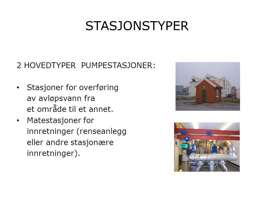 PUMPETYPER Stasjoner for overføring av avløpsvann eller matestasjoner er av flere typer.