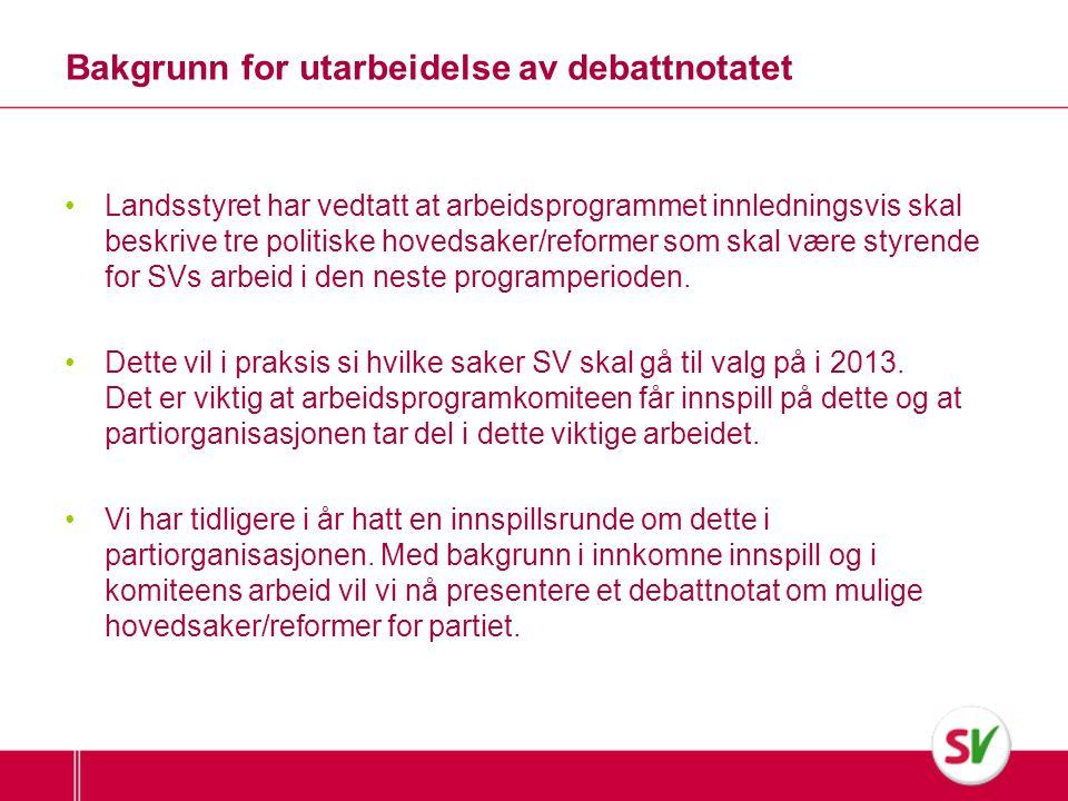 Selve debattnotatet • Debattnotatet er ment som et grunnlag for diskusjoner og debattmøter i lokallag og fylkeslag.
