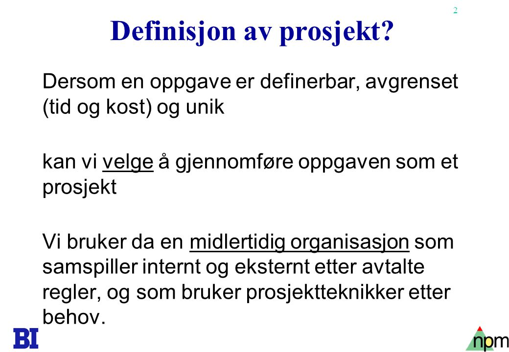 3 Copyright Tore H.Wiik Prosjekt eller ikke prosjekt.