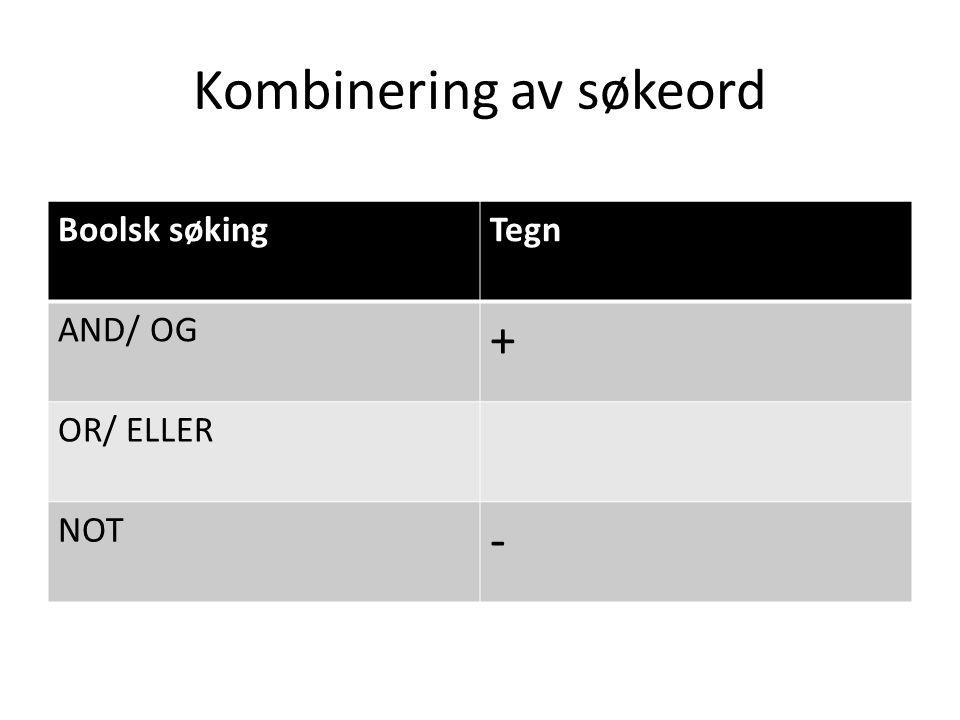 Kombinering av søkeord Boolsk søkingTegn AND/ OG + OR/ ELLER NOT -