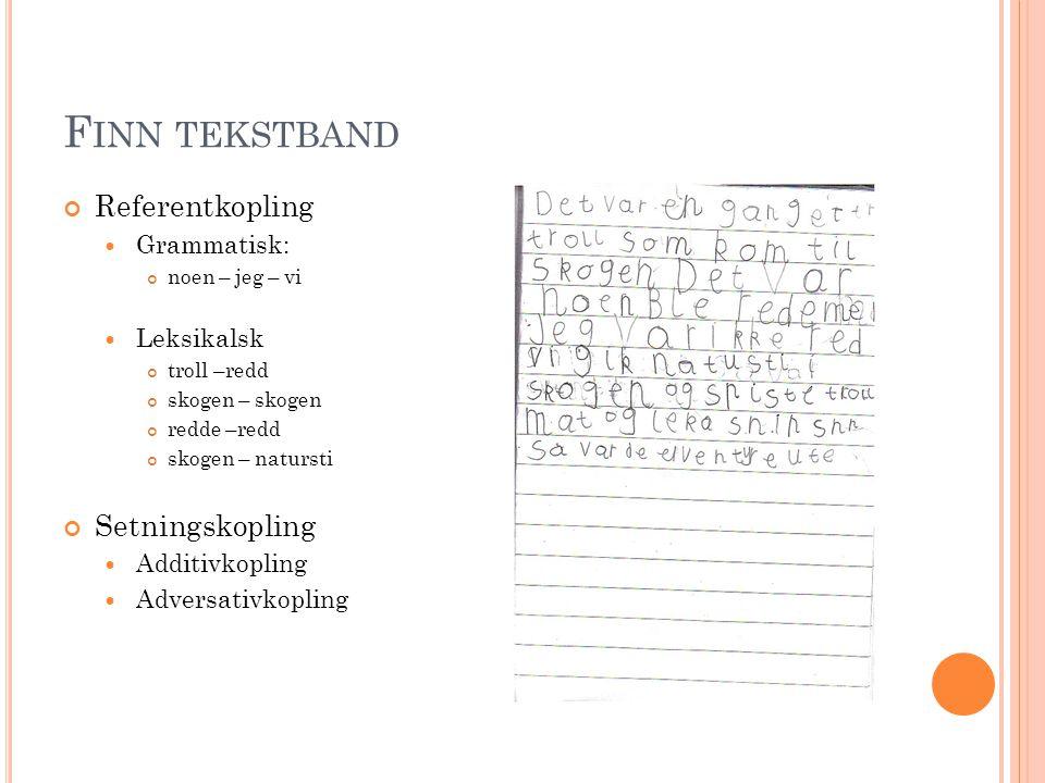 F INN TEKSTBAND Referentkopling  Grammatisk: tråle (trollet) – så (som)  Leksikalsk Finæn - finæn Tråle –tråle Tryne –tryne Vase –vase Setningskopling  Fortellingen består sannsynligvis bare av en helsetning.