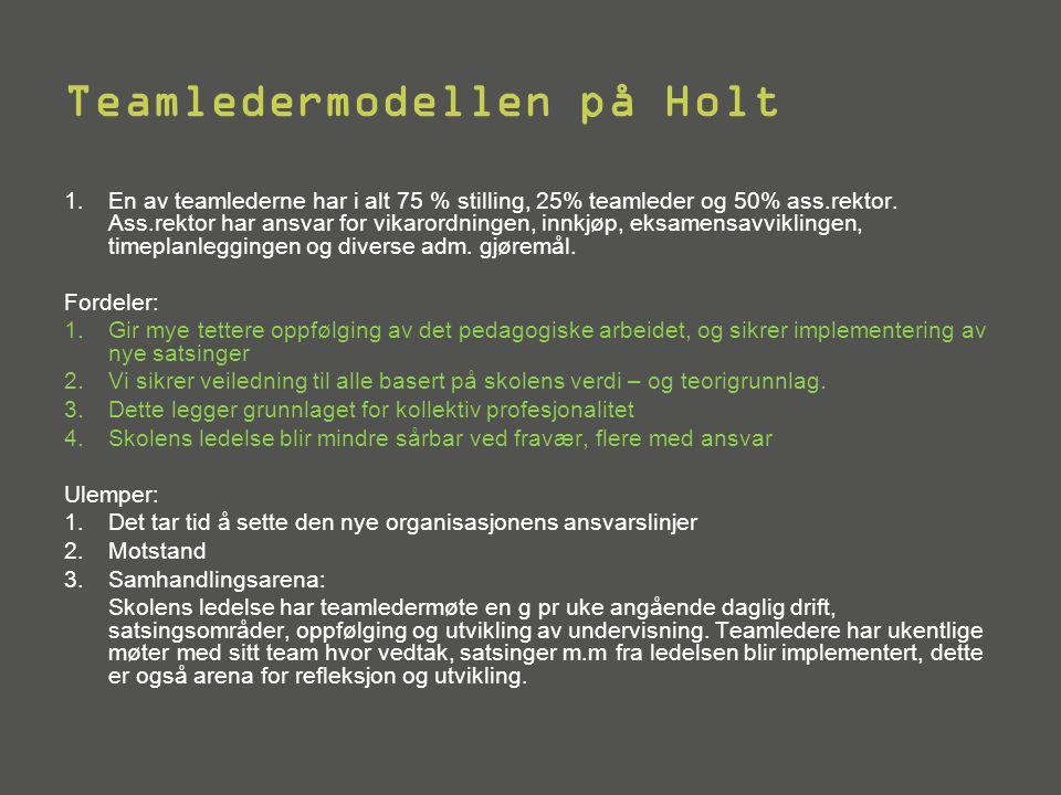 Ansvar Teamledere 1.Teamlederne har 25% adm ledelsesressurs.