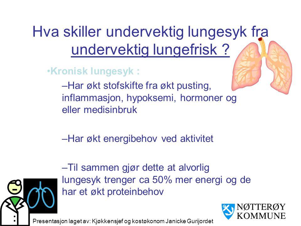 Hva skiller undervektig lungesyk fra undervektig lungefrisk .