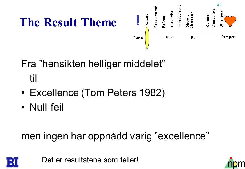 50 The Measurement Theme •Slagord: You can't manage what you can't measure •MBO/Peter Drucker(1954)-(MBO hører til en av Demings 14 punkter om hva man ikke skal gjøre) •Benchmarking •ISO 9000 •Balanced Scorecard •Måler vi de riktige tingene.