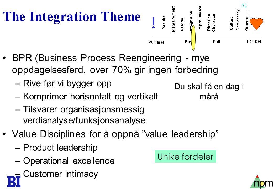 53 The Improvement Theme •Kvalitet - kvalitetssirkler •TQM (Deming) –Generell og sterkere fokusering på et utvidet kvalitetsbegrep –Kvalitet koster ikke –Økende ekspansjon av kvalitetsbegrepet til å omfatte alt i organisasjonen