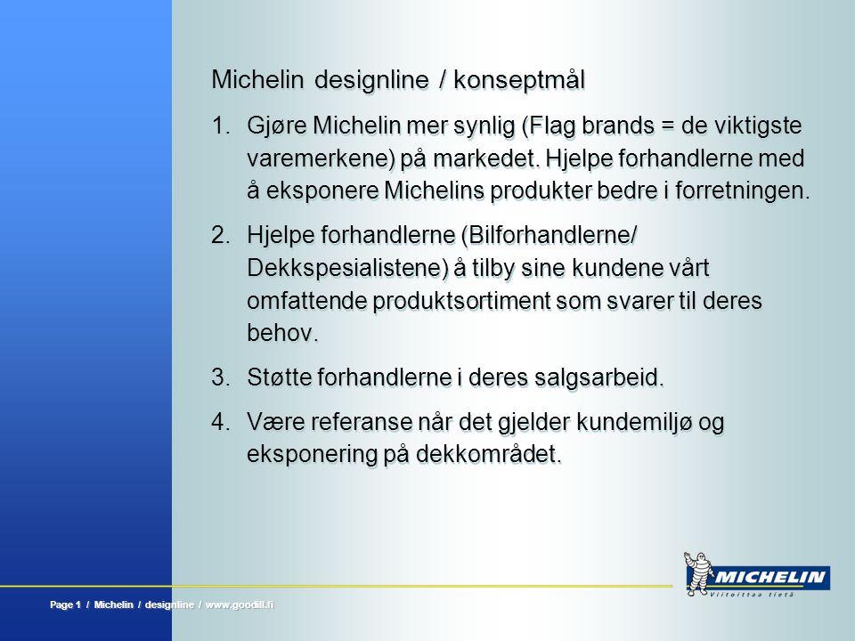 Page 2 / Michelin / designline / www.goodill.fi Michelin designline Fleksibelt utstillings- og lagersystem med mange muligheter for variasjon av dekkene og tilhørende produkter for bilforhandlere og dekkspesialister.