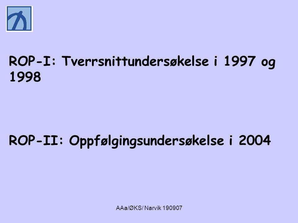 AAa/ØKS/ Narvik 190907 ROP-1 (T1): ROP-1 (T1): Personer med en ruslidelse som var til behandling i russektoren i to fylker fra september 1997 til november 1998 N=287 personer (totalt 690 personer)