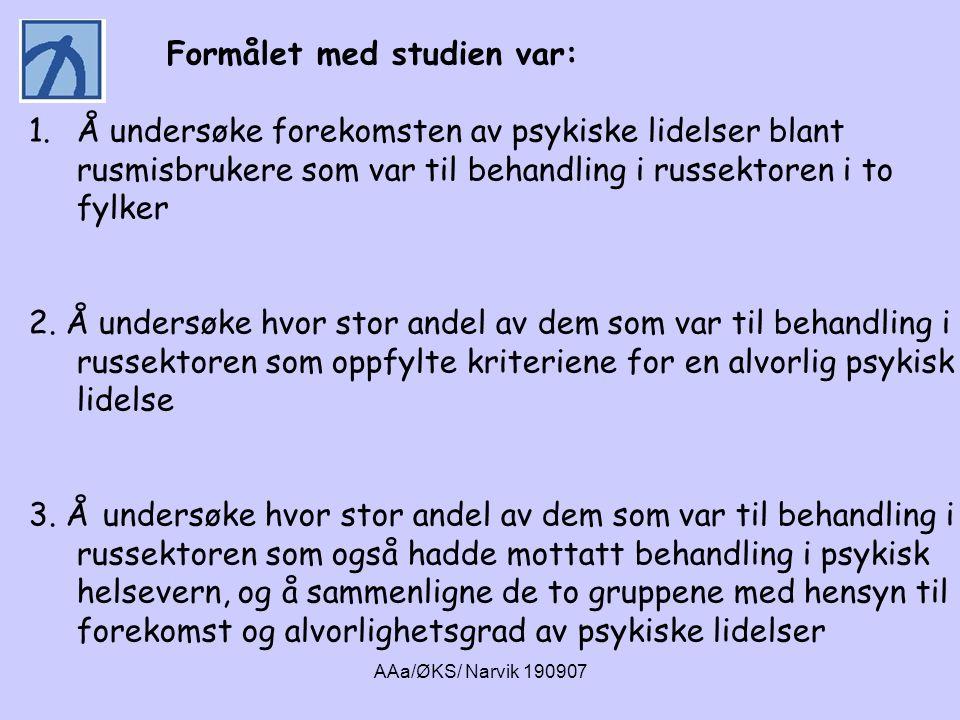 AAa/ØKS/ Narvik 190907 Gjennomsnittsalder 38,7 Andel kun grunnskole 51% Andel gifte /samboende 39% Andel alkoholmisbrukere 54% Gjennomsnittlig år med rusavhengighet 16,4 Andel kvinner 29% Andel yrkesaktive/utd 34% Kjennetegn ved ROP-deltakerne.